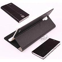 Prevoa ® 丨Original Flip Case Cover Funda Para Xiaomi Hongmi Red Rice Redmi Note 5.5 Pulgadas Android Smartphone + Protector de Pantalla - Negro