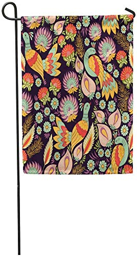 Garden Flags Seasonal Flag Funny Flag 12x18 Inches Colorful Flower Pattern in Traditional Folk Floral Birds Ethnic Border Old Outdoor Decorative House Welcome Garden Flag Seasonal