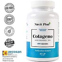 Colágeno hidrolizado. Colágeno + Acido hialurónico + Vitamina C + Zinc, 100 cápsulas.