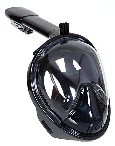 NUUR Schnorchelmaske 180° Betrachtungsfläche Tauchmaske Vollgesichtsmaske Diving Schnorchelset Anti-fog und Anti-leck für Gopro Kamera für Erwachsene Schwarz