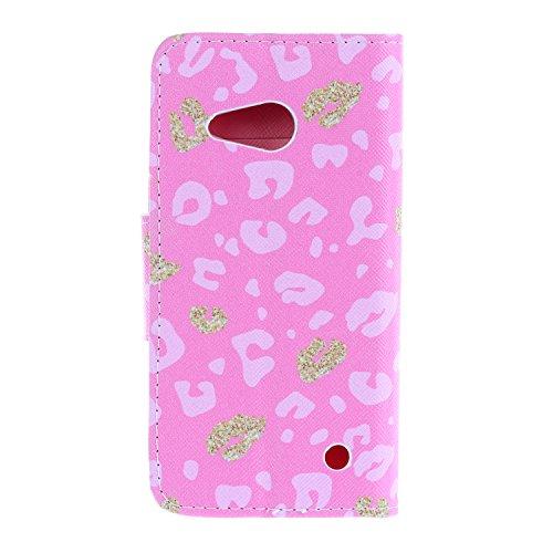 iPhone 6 6S Cover,Flip Cover Portafoglio Guscio Protettiva Custodia in Pelle per iPhone 6 6S Wallet Case Casi Caso Con carte di credito slot,Cozy Hut Elegante borsa Custodia in Pelle Protettiva Flip P Leopard Rosa