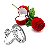 Peora Silver Ring with Red Rose Box for Men and Women