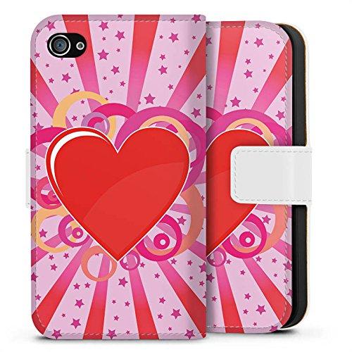 Apple iPhone X Silikon Hülle Case Schutzhülle Herz Muster Bunt Love Explosion Sideflip Tasche weiß