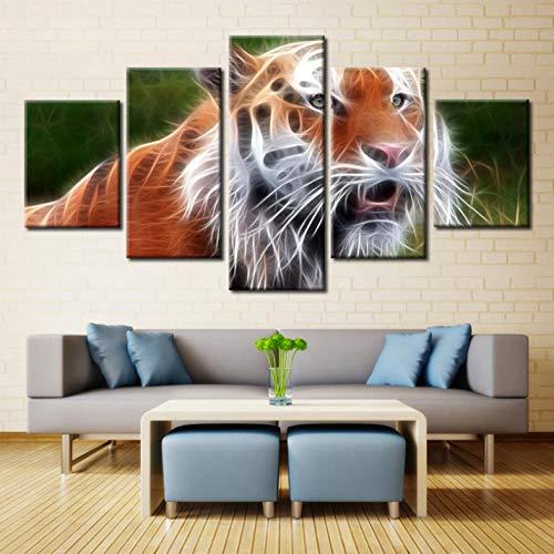Schlafzimmer 5 Stücke Abstrakte Tiger Tiere HD Print Leinwand Gemälde Für Wohnzimmer Wohnkultur Modulare Bilder Wandkunst Poster -