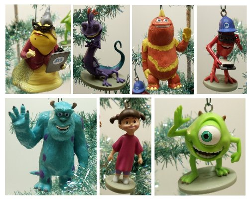 Monsters, Inc. Weihnachtsbaumschmuck-Set mit James P. Sullivan Sulley, Mike Wazowski, Randal Boggs, George Sanderson, Fungus, Roz und Baby Boo - bruchsichere Ornamente von 5,1 cm bis 11,4 cm hoch