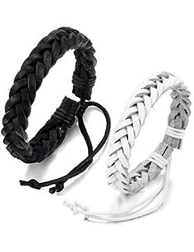 [Gesponsert]JewelryWe Schmuck 2 geflochten Leder Armbänder, Lederarmband Lederkette Armreif für Damen Herren Unisex, Schwarz...