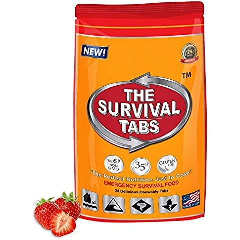 MREs Survival Ration Emergency Food 2-day supply 24 tabs 25 Years shelf life Gluten Free and Non-GMO (Strawberry Flavor) by LB1 High Performance - Four Flavor