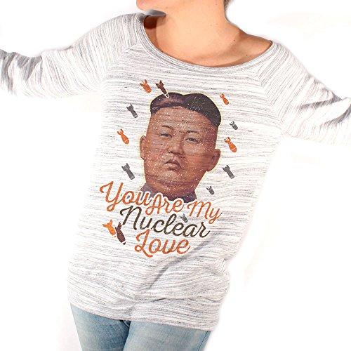 Felpa Fashion KIM JONG-UN YOU ARE MY NUCLEAR LOVE POLITICS - POLITICA by Mush Dress Your Style Grigio marmorizzato
