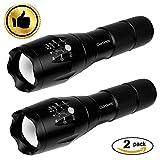 OUYOOOO taktische LED Taschenlampe [2 Stück] – hohes Lumen, Tragbare, Zoombar Wasserdichte, Handleuchten - ideal für Campen, Wandern und Spaziergang mit Hunde