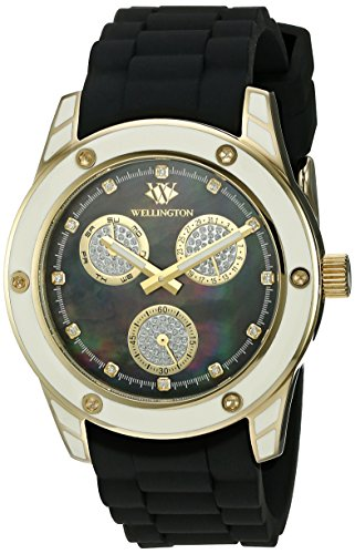 Wellington WN506-222A - Reloj analógico de cuarzo para mujer con correa de silicona, color negro