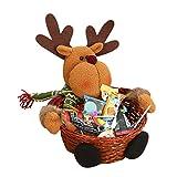 Siswong Christmas Santa Claus/Snowman/Elk Candy Storage Box Xmas Decoration Basket Gift for Kids 18*18CM (Elk)