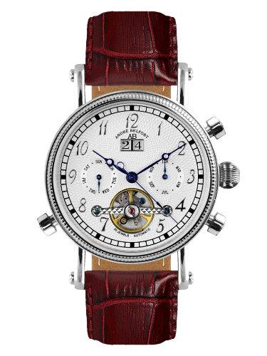 André Belfort 410002 - Reloj analógico de caballero automático con correa de piel marrón - sumergible a 50 metros