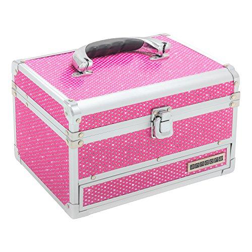 anndora Schmuckkoffer Kosmetikkoffer 3 Frontfächer Spiegel Pink Glitzer