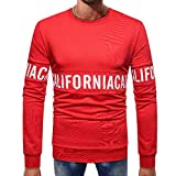 KPILP Männer Mode Herbst Winter Casual Langhülse Splicing Brief Print Button Grundlegende Feste Reine Farbe Bluse T-Shirt Oberste Outwear(Rot, 2XL