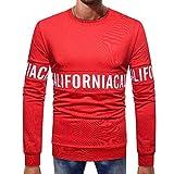 KPILP Männer Mode Herbst Winter Casual Langhülse Splicing Brief Print Button Grundlegende Feste Reine Farbe Bluse T-Shirt Oberste Outwear(Rot, 2XL