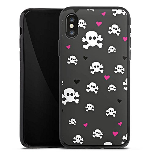 Apple iPhone X Silikon Hülle Case Schutzhülle Skull Heart Muster Silikon Case schwarz