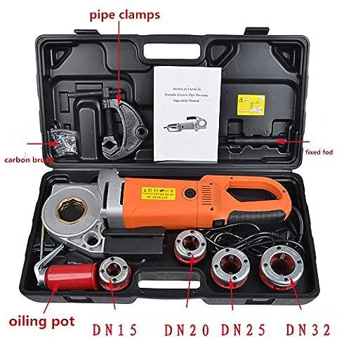 électrique portable Tuyau Enfile-aiguille avec 4Dies machine Filetage 1/5,1cm à 1–1/10,2cm