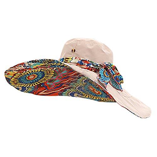 iShine Frau Sonnenhut Beide Seiten Tragen Beach Hut mit Stoffdruck Bändchen Schleife Sonnenschutz-Hut Große Rand UV-Schutz Faltbar Damen Tropenhelm Leicht zu tragen für Feisen Khaki