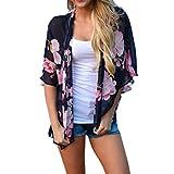 LHWY Damen Floral Print Strand Chiffon Locker Schal Kimono Cardigan Top Cover Bluse (XL, Navy)