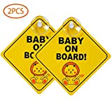 Stronghigheu 2 Pcs Baby On Board Signs, Kids Safety Warning, Baby on Board Stickers, Premium PP With Powerful Suction Cups for Car