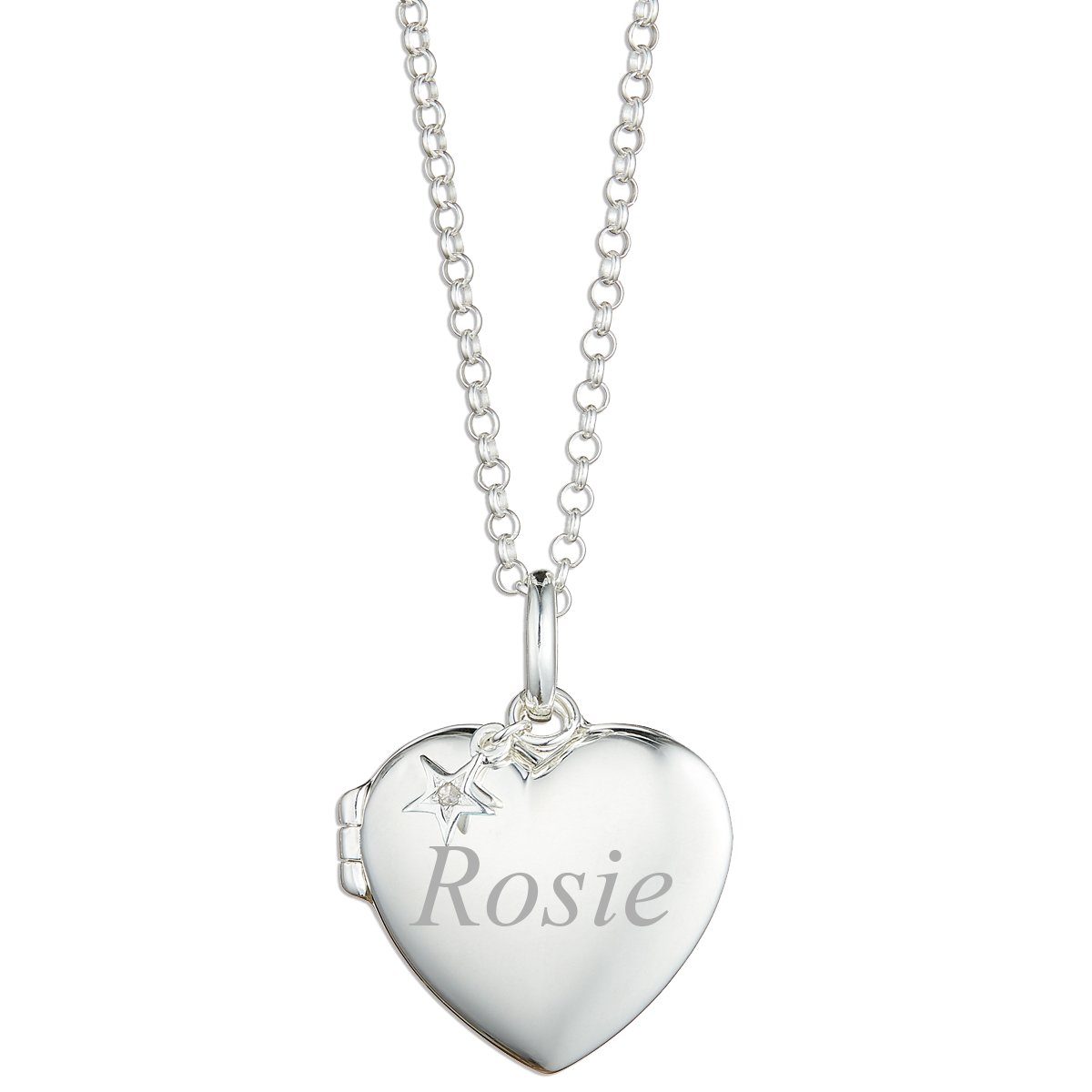 Molly Brown London Personalised Sterling Silver Large Heart Locket with a 1pt Diamond – Ideal for Flower Girl Jewellery…