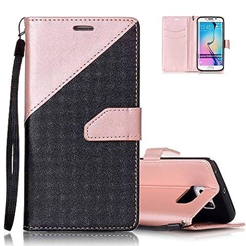 Etui Noir et Or Rose Conception de Coutures Couleur pour Samsung Galaxy S6 Edge 5.1