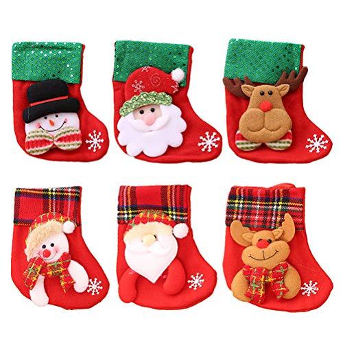6 unids pequeños Calcetines de Navidad árbol de Navidad Chimenea Decoraciones de...