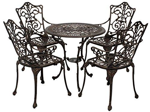 Jugendstil Tisch (Gartenset Lugano in Jugendstil Optik 5-teilig, Aluguss Bronze - antik, wetterfest)