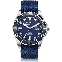 NATURAL PARK Men Chronograph Multi-Function Quartz Watch, Blue Dial Analogue Display and Nylon Strap(Luminous Hands)