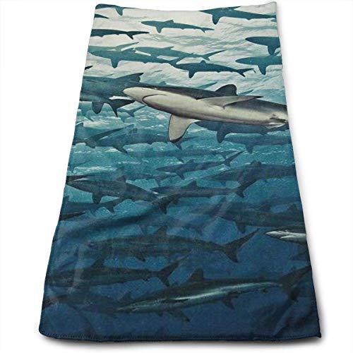 huibe Toallas de Mano Toallas para la Cara del enjambre de Tiburones Toallas Altamente absorbentes para la Cara Gimnasio y SPA 30 x 70 cm