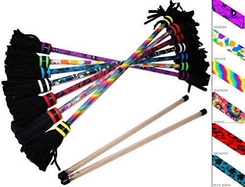 Set Ultra Stick (ART-Deco Flowerstick Set (7 Einzigartig Designs) inkl. Handstäbe mit 2 mm Ultra-Grip Silikon! Super Cool Flower Sticks Lunastix für Anfänger und Profis. (Rainbow))