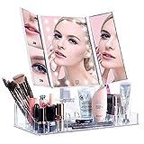 ISENPENK Specchio Illuminato per Trucco Triplo Specchietto Comestico Pieghevole a…