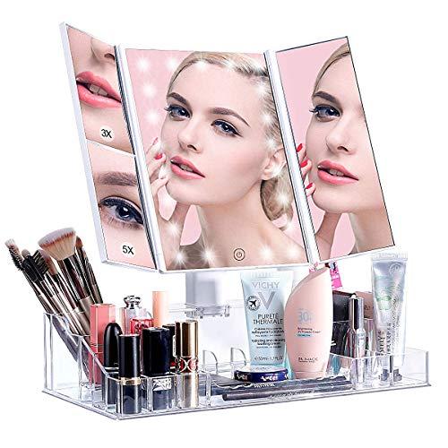 ISENPENK LED Espejo Maquillaje con Organizador, Espejo de Mesa con 21 Leds Carga con USB o Batería, Plegable Tríptico Espejo de Aumentos 3X, 5X, Rotación 180°, Pantalla Botón Táctil para Ajustar Luz