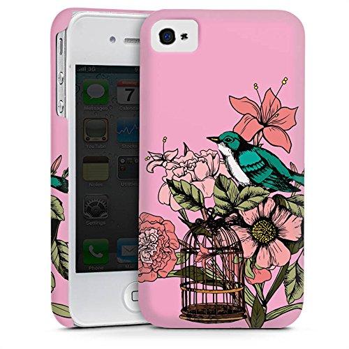 Apple iPhone 5s Housse Étui Protection Coque Oiseau Tatouage Fleurs Cas Premium mat