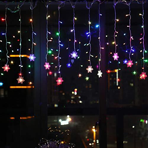 Relax love Lichterkette Schneeflocken LED, Weihnachten deko Fenster 3,5m Weihnachtsbeleuchtung Warmweiß Bunt 96er Lichtervorhang Innen/Außen (Bunt)