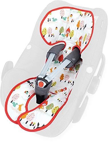 Priebes Sitzauflage Lola für Babyschalen Gruppe 0 mit Easy-out Gurtsystem | kühlt durch Luftzirkulation | Alternative zum Sommerbezug |atmungsaktiv&waschbar, Design:rotkäpchen - Pearl Trockner