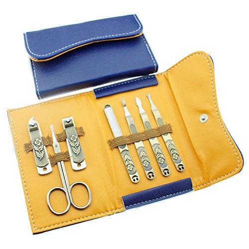 Belle 7 Pezzi Moda Unghie Manicure e Pedicure Set con Un d'oro cassa, Include tagliaunghie smiley,un'unghia clipper cuticola pusher,lina per unghi