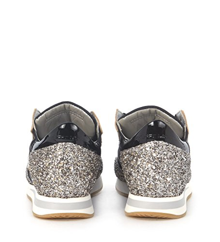 Sneaker Philippe Model Tropez in tessuto nylon nero e glitter Nero