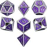 TecUnite Set di 7 Dadi di Metallo Poliedrico 7-Die Dice Set di Dadi per Giochi di Ruolo per Dungeons e Dragons, Rpg Dice Gaming, D&D, MTG (Reale Viola, 105 g)