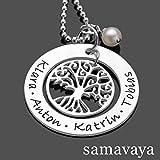 Namenskette Familienschmuck OHANA 925 Silberkette mit Gravur Lebensbaum Kette Familienkette