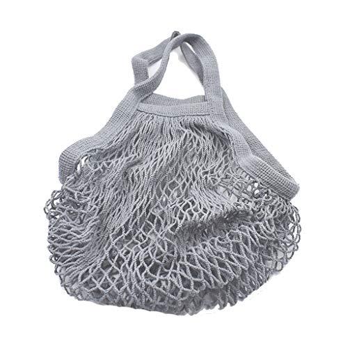 Fliyeong Netztasche Einkaufstasche Net Woven Bag Wiederverwendbare Tasche Shopping Net Taschen zum Einkaufen Picknick Schulen oder Trips verwenden 1 Stücke Grau