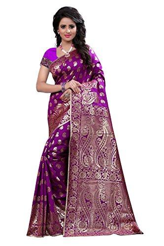 The Fashion Outlets Women's Cotton Silk Zari Jacquard Sarees(Free Size_Purple)