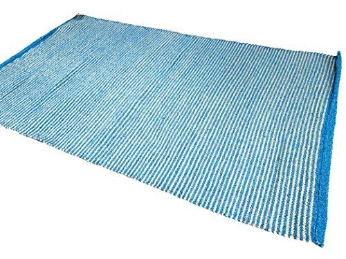Second Nature Online - Alfombra de Yute de algodón de Dos Tonos, Color Turquesa y Beige Claro, Turquesa, 120 cm x 180 cm