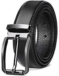 NEWHEY Cinturon Hombre Cuero Cinturones Piel Jeans Cinturón Hombre 32mm Trabajo Clásico 115cm 125cm Negro Marron Rojo-Marrón