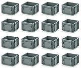 16x Eurobehälter-Eurobox 20 x 15 x 12 grau inkl. gratis Zollstock, 16er Set