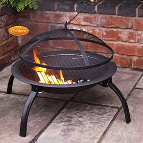 Steel Portable Fire Bowl BBQ Firepit With Folding Legs 56cm W x 39cm H