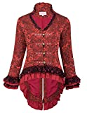 Belle Poque Damen Steampunk Gothic Langarm Jacquard Jacke Mantel Rot S