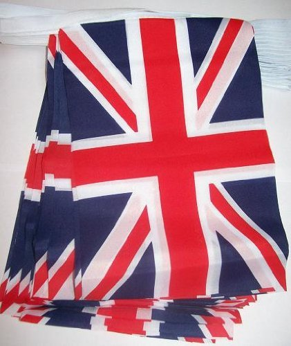 UK Wimpelkette Union Jack Flagge 10 Meter langem lang mit 30 Flaggen à)., ideal für Hochzeiten, Partys, Sportveranstaltungen, Ausstellungen, Pubs, Office & Gebäude. (Internationale Flaggen-party)