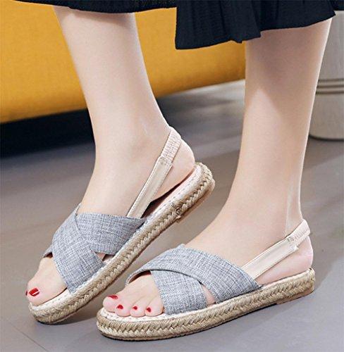 Sandales plates étudiante plat avec chaussures de sport, sandales et pantoufles sandales tête de poisson Blue