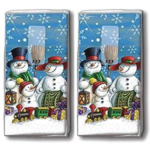 20 Taschentücher (2x 10) Taschentücher Schneemannfamilie/Winter / Weihnachten